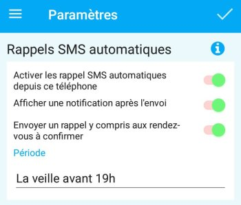 Rappel SMS depuis l'application mobile Android